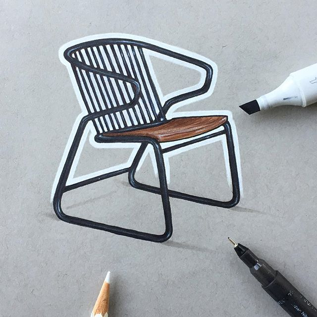 how to draw a park chair