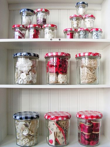 Bonne Maman ~ great jam, great craft storage