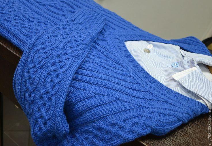 """Купить Джемпер мужской теплый из шерсти """" Синие узоры"""" - синий, джемпер мужской"""
