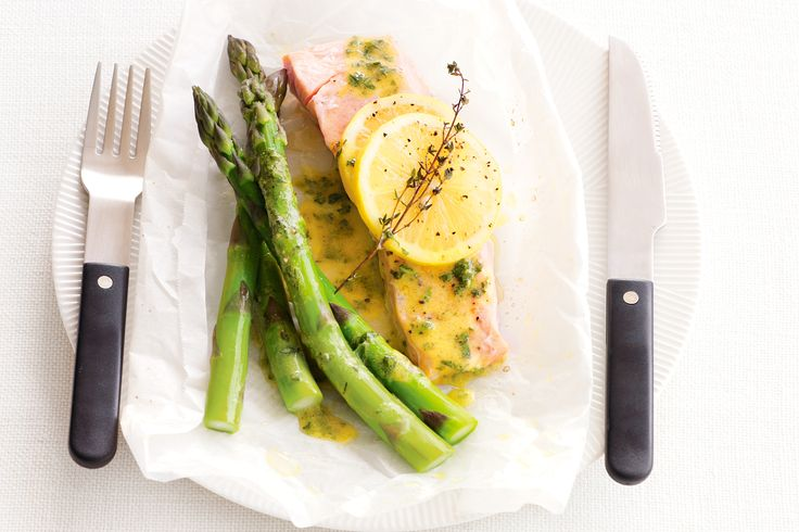 The crisp texture of blanched asparagus plays with the succulent salmon to create a winning meal.