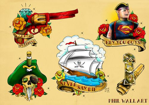 Goonies style ! Themed Tattoo Flash sheets based on pop culture....
