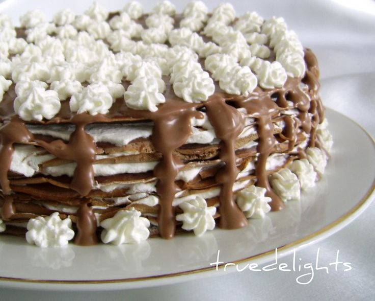 Reteta Tort de clatite cu frisca si ciocolata -  Chocolate Crepe Cake with Chocolate Cream Filling