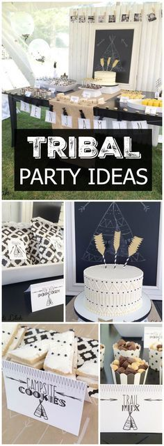 Love this modern black, white & gold Aztec tribal party! See more party ideas at CatchMyParty.com!