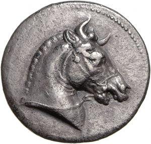 Tetradracma - argento - Pergamo (281-280 a.C.) - BAΣIΛEΩΣ // ΣEΛEYKOY testa di cavallo vs dx bardato con corna - Münzkabinett Berlin
