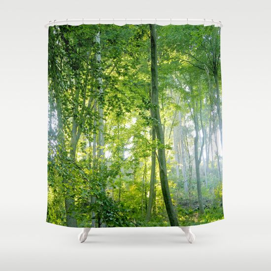 MM - Sunny forest Shower Curtain  Sunlight in a broadleaf forest on a summer day  Landscape, nature, light, green,trees, leaf, summer, flora, trunks