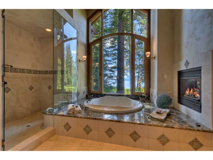 Master Bath Lakeview Fireplace | The Cottage - Lakefront | Tahoe Luxury Properties Vacation Rental
