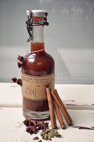 Gift Idea DIY Chai Tea Concentrate ~ cardamom, nutmeg, cinnamon, star anise in black tea with honey plus more makes a yummy tea!