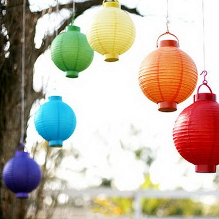Rainbow Chinese Lanterns perfect for a colorful wedding inspiration!