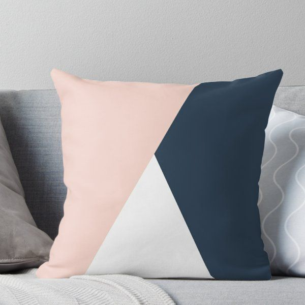 Modern Geometric Blush Pink Navy Blue Throw Pillow By Naughtycat Blue And Pink Bedroom Navy Blue Throw Pillows Blue Living Room Decor