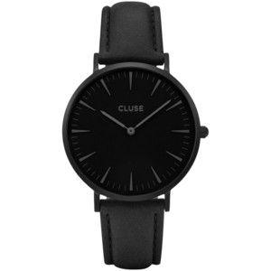 CLUSE Women's La Boheme Leather Strap Watch , Black
