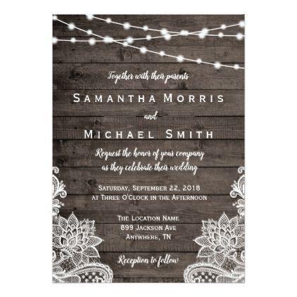 #Rustic Wood Wedding Invitation with String Lights - #weddinginvitations #wedding #invitations #party #card #cards #invitation #lace #weddinginvitationsrustic
