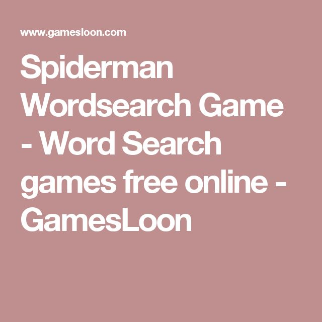 Spiderman Wordsearch Game - Word Search games free online - GamesLoon