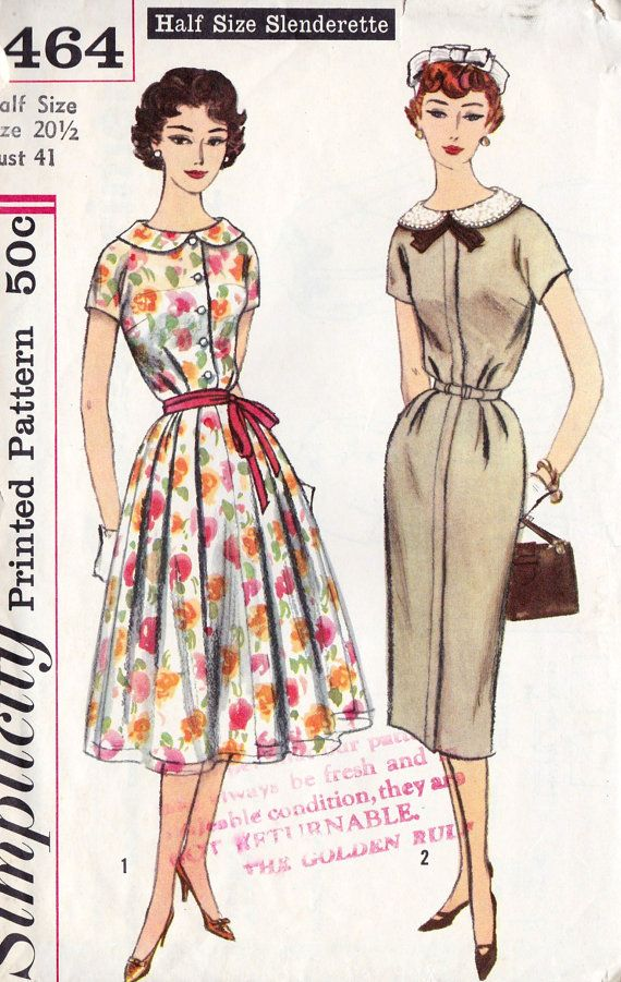 1950s Womens Plus Size Dress with Two Skirts and Detachable Collar Vintage Sewing Pattern, Simplicity 2464 bust 41 uncut via Etsy