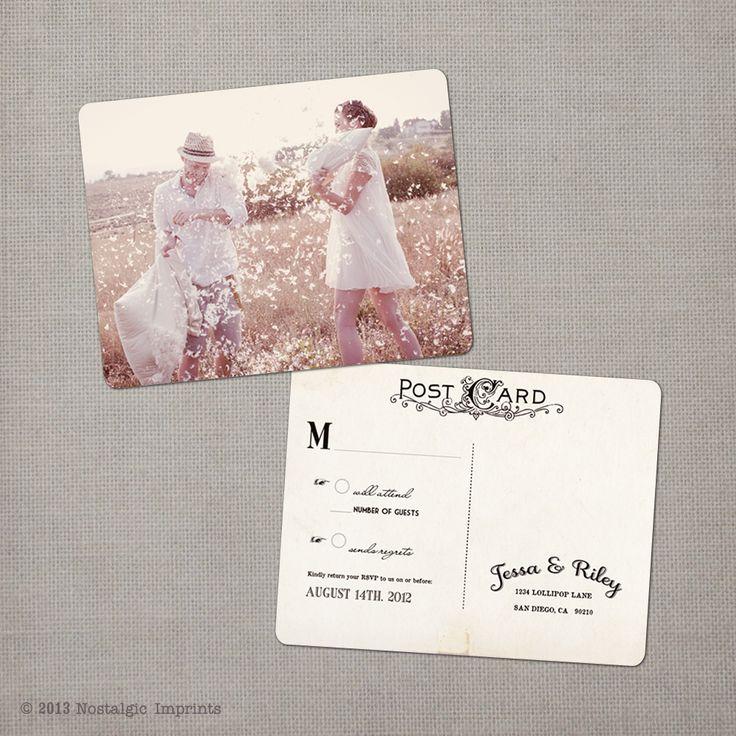 proper response time for wedding rsvp%0A Jessa      x    Vintage RSVP Postcard