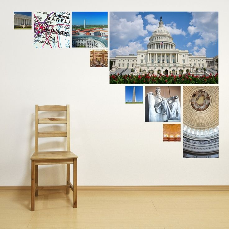 Our Washington D.C. Photo Collage Wall Decal pays homage to our nations capitol.    This Washington D.C. Photo Collage Wall Decal Shows most of the major landmarks in the U.S. Capitol. The Washington Monument, the Capitol building, and the Lincoln Memorial are all featured.This Washington DC Photo Collage comes in two sizes:Medium: 36