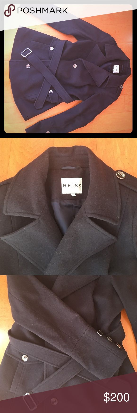 Reiss London Navy Wool Pea Coat Perfect condition! Worn 2X, purchased in London.. timeless!!! Reiss Jackets & Coats Pea Coats