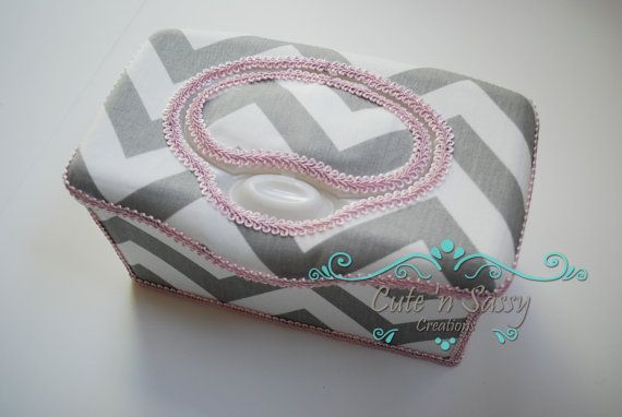 Boutique Flip Top Baby Wipe Tub - Gray Chevron Covered Nursery Wipes Box Trimmed with Pink on Etsy, $16.50