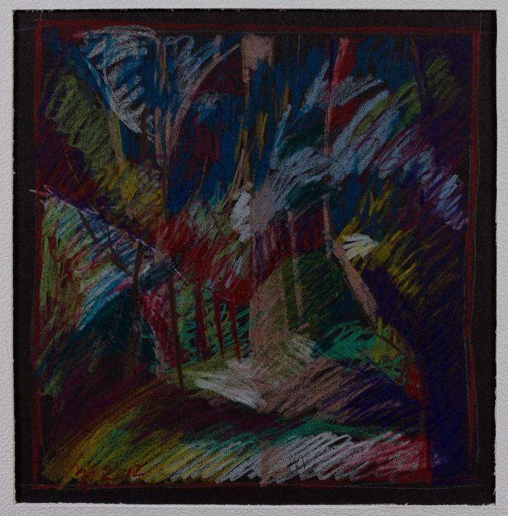 Marina Goldaracena Pinturas: Lapiz de color sobre hoja negra