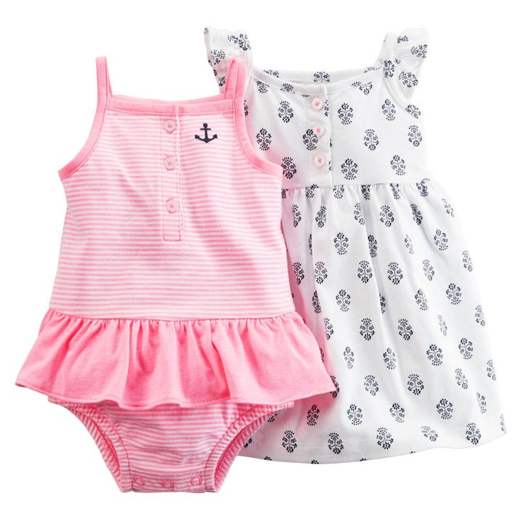 Carters Newborn 3 6 9 12 18 24 Months Dress & Romper Set Baby Girl Clothes #Carters #Everyday