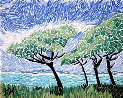 seaside mosaic trees - Beautifully executed, I can feel the breeze in the trees.