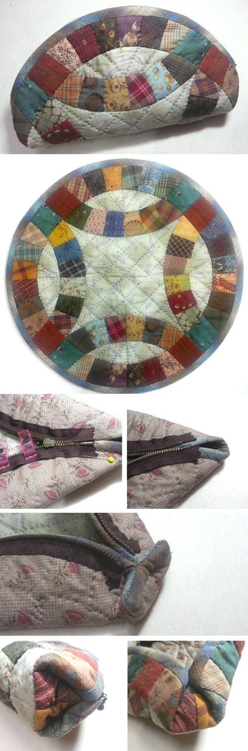 Cute Half-round Zipper Pouch Sewing Tutorial in Pictures.  http://www.handmadiya.com/2015/10/halfmoon-patchwork-pouch.html