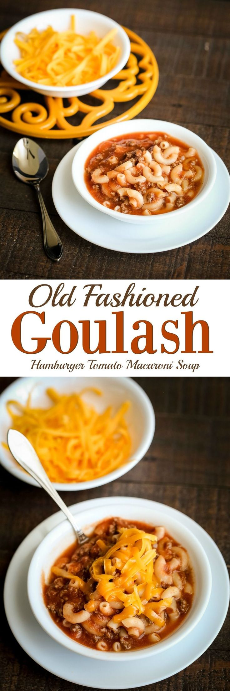 This Old Fashioned Goulash soup recipe is one that everyone loves! A perfect blend of hamburger, noodles, tomato base & spices that entice requests for more