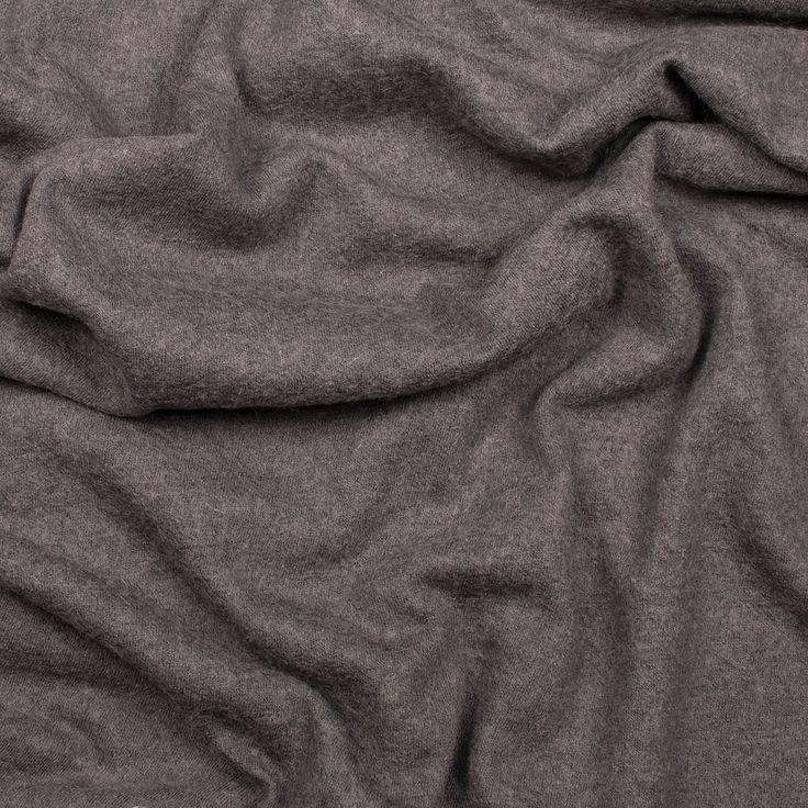 Plain Wool Poly Boiled Coat Fabric. Charcoal.