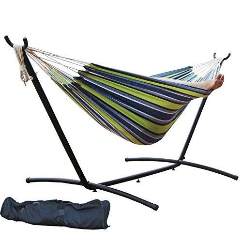 Double Hammock with Space Saving Steel Hammock Stand [4 Colors]