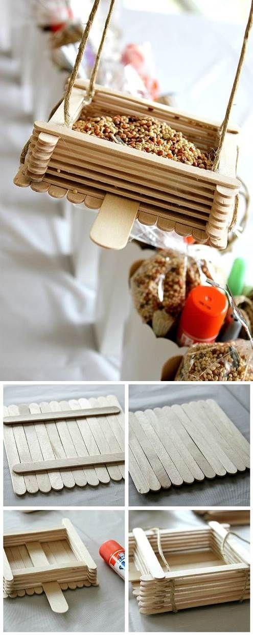 DIY Bird Feeder from Popsicle Sticks | LovePetsDIY.com