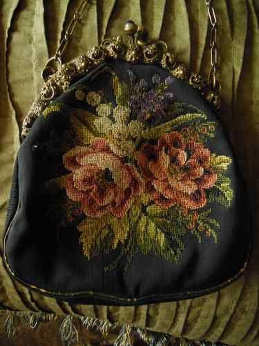 """~ """"Victorian"""" Needlepoint Purse ~"""