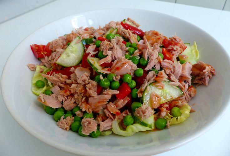 (Lunch)Salade met Tonijn en Gegrilde Paprika