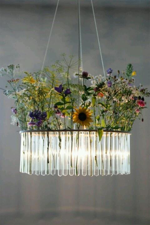Rustics diy chandelier with test tubes... Love it!