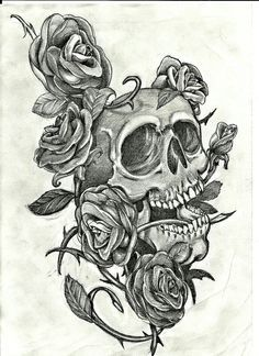 Top 25 best Skull and rose drawing ideas on Pinterest Skull
