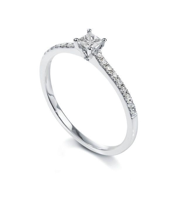 Solitaire princesse 4 griffes accompagné Or blanc 750/00 diamant 0.20 carat