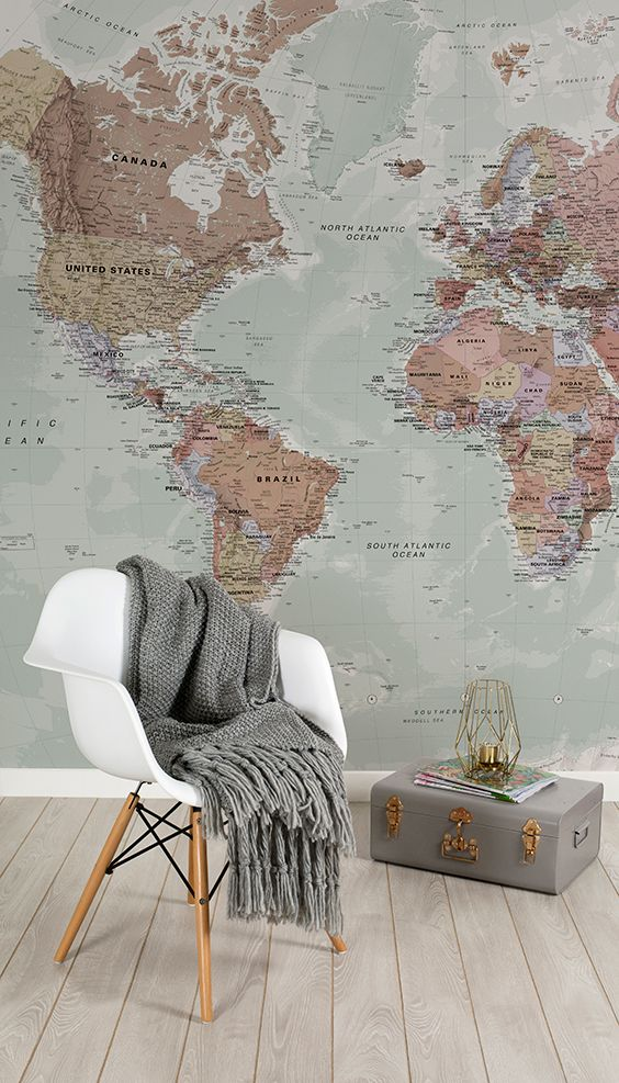 83 best world map wallpaper images on pinterest bedroom ideas add an air of sophistication to your interiors with this world map mural embellishing your gumiabroncs Images
