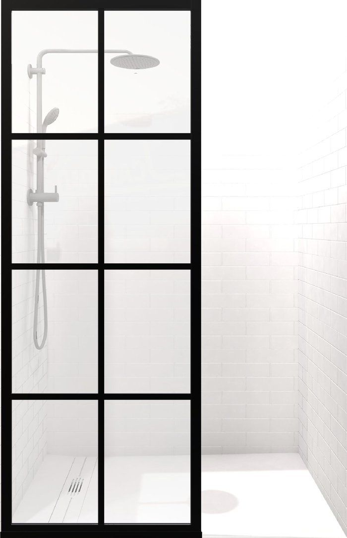 Gridscape Gs2 Shower Screen In Black With Clear Glass Shower