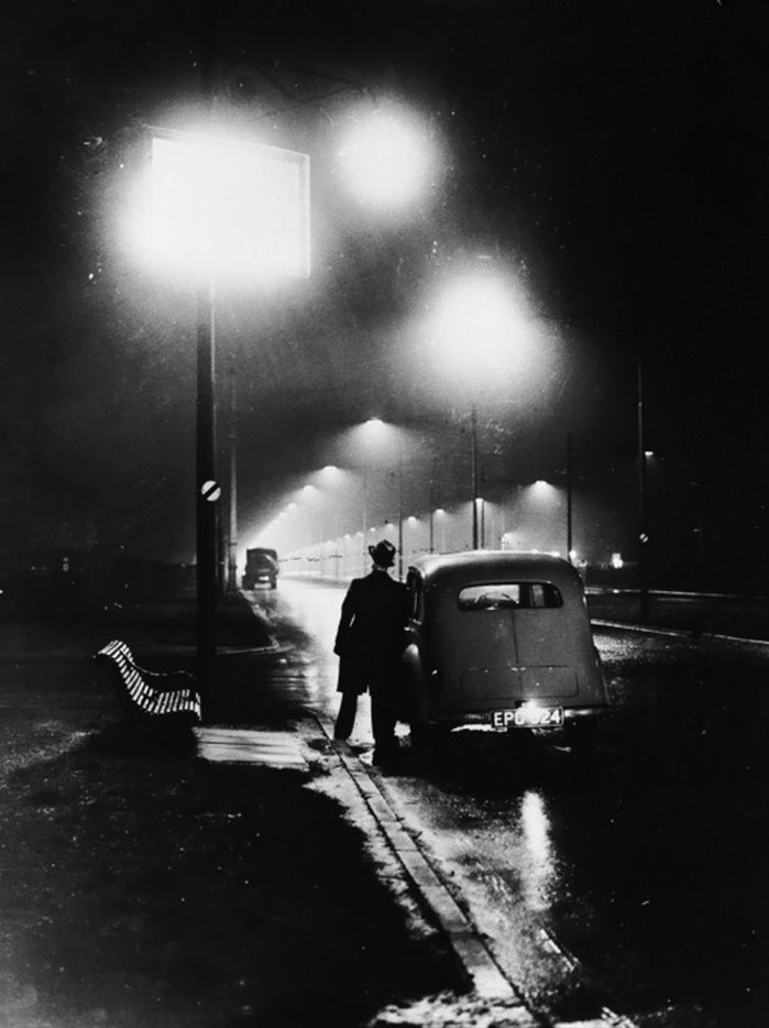 sodium street lighting on the liverpool section of the east lancs road in merseyside, england, 1937