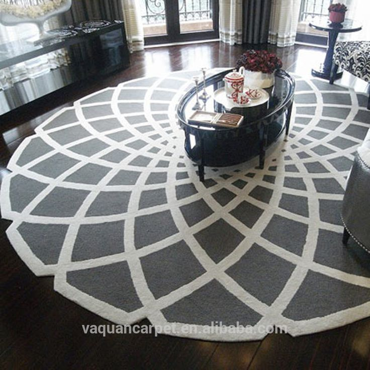 New design fabric Round picnic rug Hand Tufted Wool Rugs in carpet for Living room