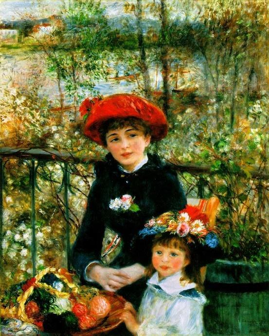 Renoir - love it!  #art #paintings #Renoir: Two Sisters, 1841 1919, Pierre August Renoir, Fine Art, Art Institute, Artist, Paintings, Terraces, 1881