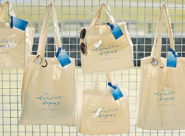 Aqua Beach Wedding Theme Tote Bags