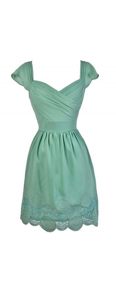 Sweet Dreamy Lace Hemline Dress in Sage  www.lilyboutique.com