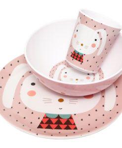 Wunderschönes Melamin-Geschirr-Set für Kinder in Rosa mit Hasenprint.
