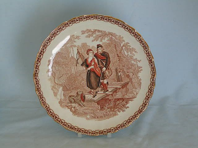 Antique Decorative Plate entitled 'The Blind Piper' dating from the Victorian era