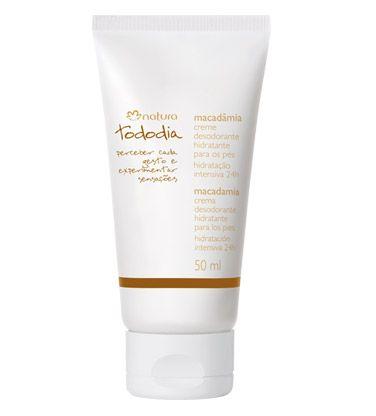 *Creme Desodorante Hidratante para os Pés Macadâmia Tododia - 50ml* Aplique nos pés com a pele limpa e seca em movimentos deslizantes, massageando até completa absorção.