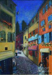 Raija Merila Painting - Night Street In Pula by Raija Merila