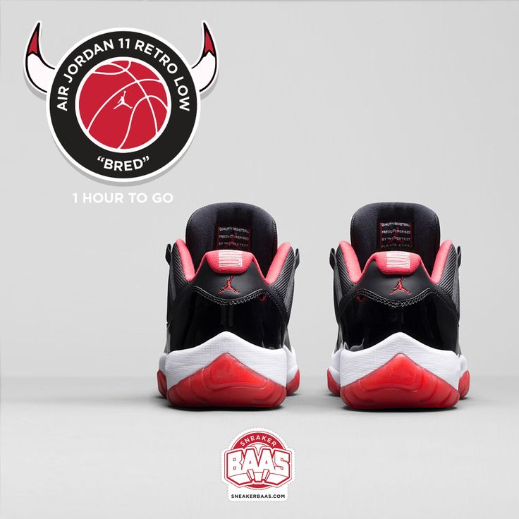 "#jumpman23 #jordan11 #airjordan #jordanretro #jordanlow #airjordan11 #truered #sneakerbaas #baasbovenbaas  Air Jordan 11 Retro Low ""Bred"" - 1 hour to go!  For more info about your order please send an e-mail to webshop #sneakerbaas.com!"