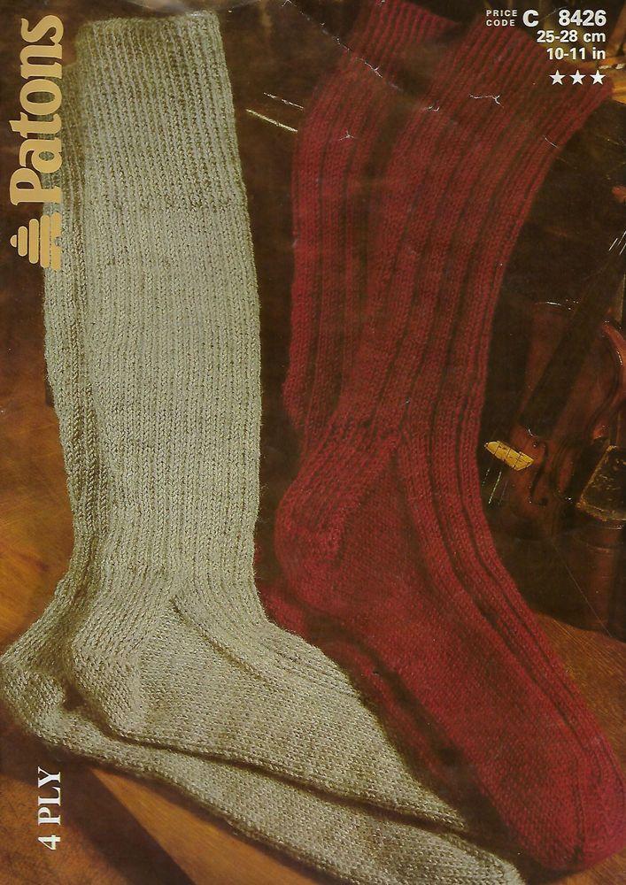 Ribbed Work or Hiking Socks Patons 8426 knitting pattern winter 4 ply yarn #Patons
