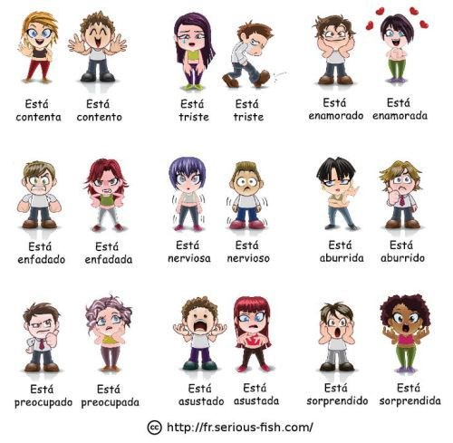 Emotions in Spanish. Many more materials for teaching emotions and states of being available on this website: http://espanolparainmigrantes.wordpress.com/2014/06/07/como-estas-estados-de-animo/