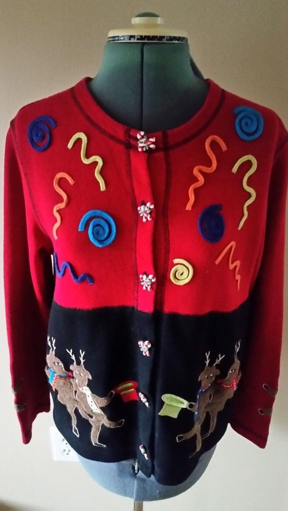 Dancing Reindeer Ugly Christmas Sweater Button Up Size Small