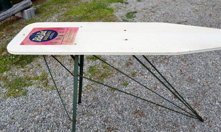 Vintage Wooden Ironing Board Metal Legs White Green Rustic Prim Decor PanchosPorch